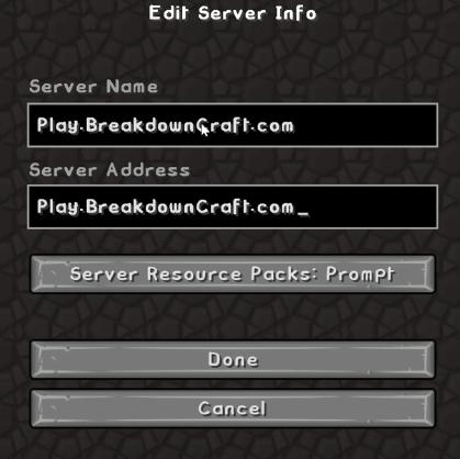 Minecraft Server info