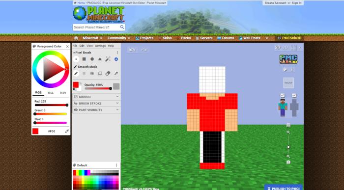 Planet Minecraft Skin editor